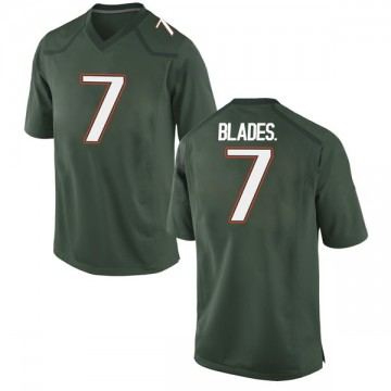 Men's Al Blades Jr. Miami Hurricanes Nike Game Green Alternate College Jersey