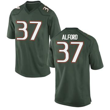 Men's Colvin Alford Miami Hurricanes Nike Game Green Alternate College Jersey