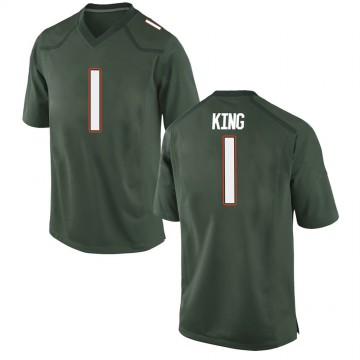 Men's D'Eriq King Miami Hurricanes Game Green Alternate College Jersey