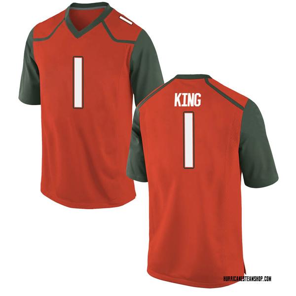 Men's D'Eriq King Miami Hurricanes Nike Replica Orange College Jersey