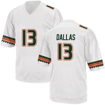 Men's DeeJay Dallas Miami Hurricanes Adidas Game White Alternate College Jersey