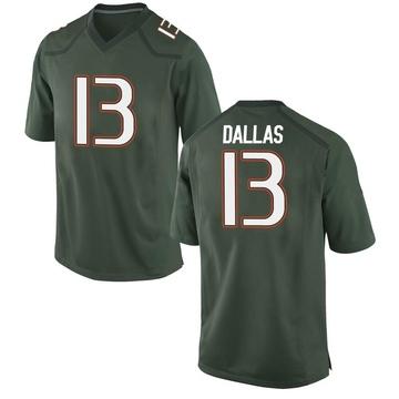 Men's DeeJay Dallas Miami Hurricanes Game Green Alternate College Jersey