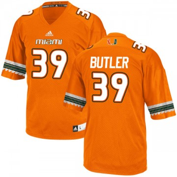 Men's Jordan Butler Miami Hurricanes Game Orange adidas Jersey -