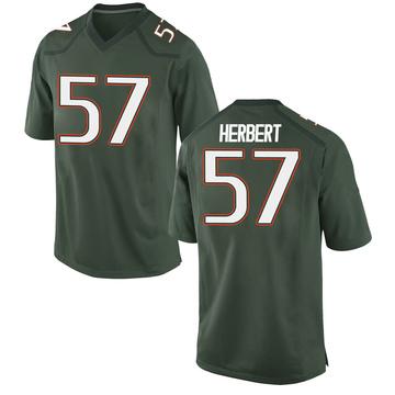 Men's Kai-Leon Herbert Miami Hurricanes Nike Game Green Alternate College Jersey