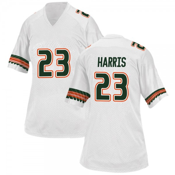 Women's Cam'Ron Harris Miami Hurricanes Adidas Replica White Alternate College Jersey