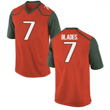 Youth Al Blades Jr. Miami Hurricanes Nike Game Orange College Jersey