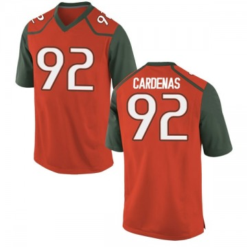 Youth Alejandro Cardenas Miami Hurricanes Nike Game Orange College Jersey
