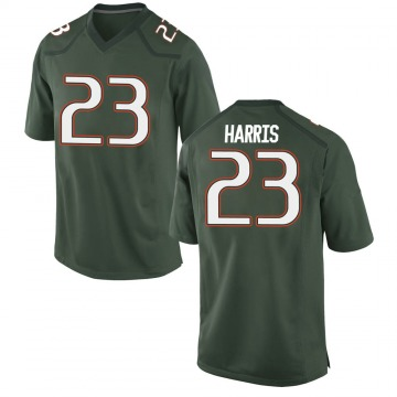 Youth Cam'Ron Harris Miami Hurricanes Game Green Alternate College Jersey