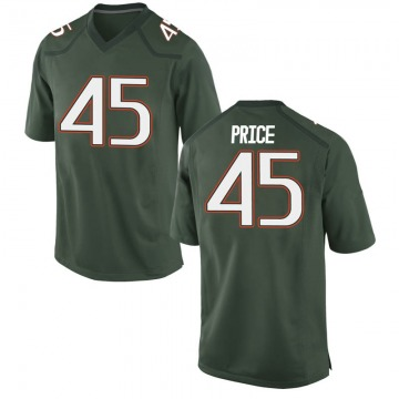 Youth Camden Price Miami Hurricanes Nike Game Green Alternate College Jersey
