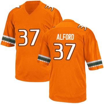 Youth Colvin Alford Miami Hurricanes Adidas Game Orange Alternate College Jersey