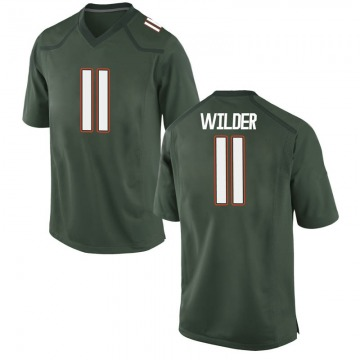 Youth De'Andre Wilder Miami Hurricanes Nike Game Green Alternate College Jersey