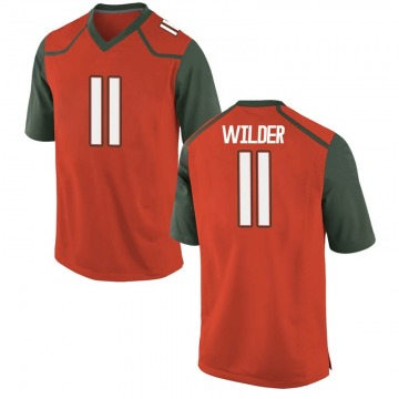 Youth De'Andre Wilder Miami Hurricanes Nike Game Orange College Jersey