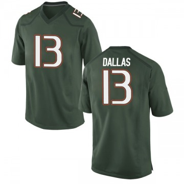 Youth DeeJay Dallas Miami Hurricanes Game Green Alternate College Jersey