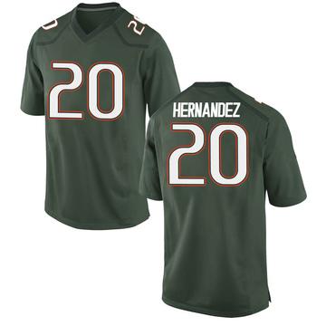 Youth Dewan Hernandez Miami Hurricanes Nike Game Green Alternate College Jersey