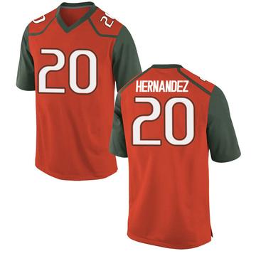 Youth Dewan Hernandez Miami Hurricanes Nike Game Orange College Jersey
