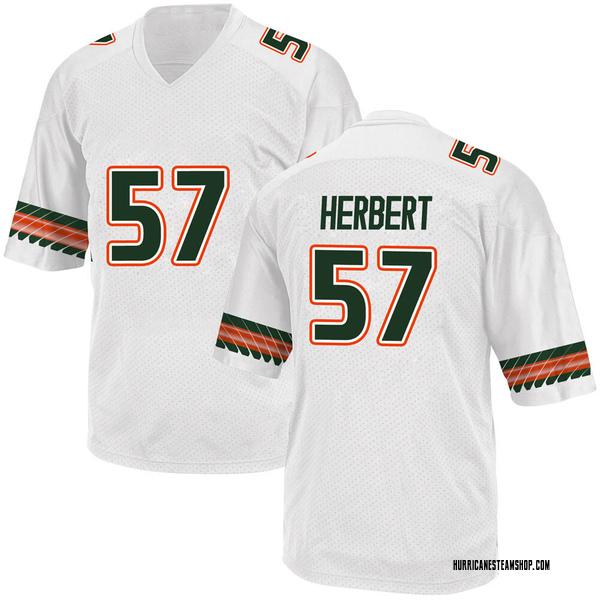 Youth Kai-Leon Herbert Miami Hurricanes Adidas Game White Alternate College Jersey