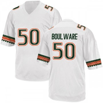Youth Venzell Boulware Miami Hurricanes Adidas Replica White Alternate College Jersey
